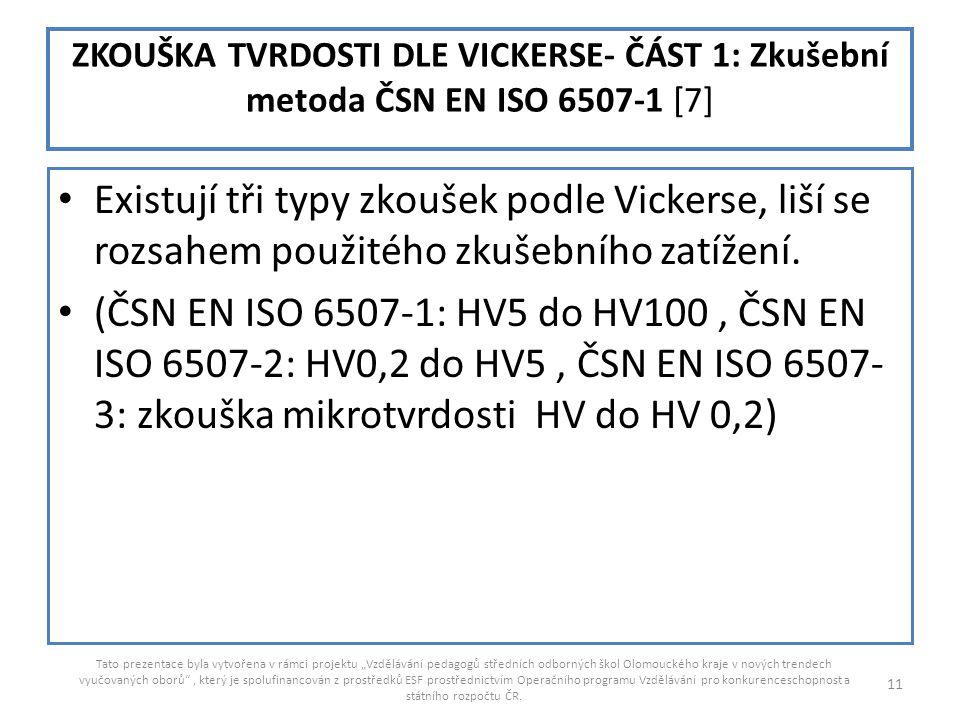 ZKOUŠKA TVRDOSTI DLE VICKERSE- ČÁST 1: Zkušební metoda ČSN EN ISO 6507-1 [7]